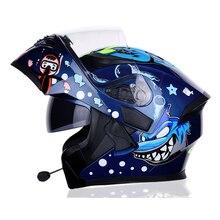 4 Seasons Motorcycle bluetooth headsets Headgear helmet Moto Double Visor Flip U
