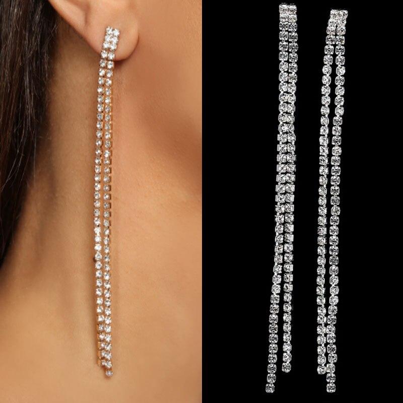 Простые серьги-подвески Stonefans для женщин, свадебные блестящие серьги-подвески с кристаллами, ювелирные изделия на цепочке