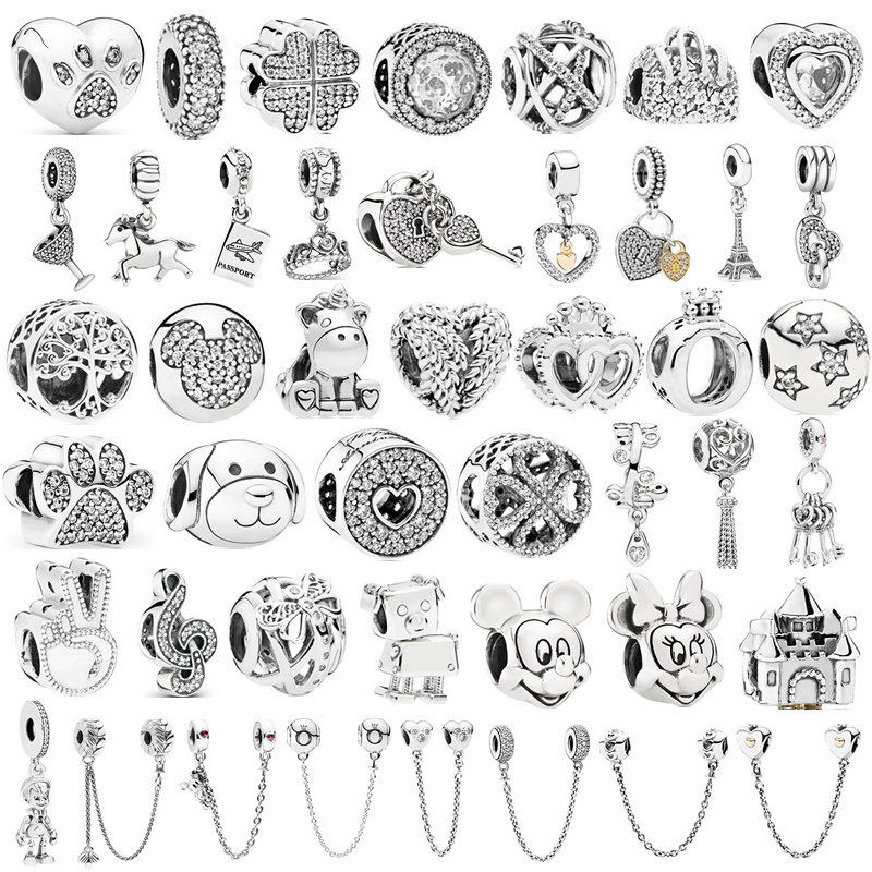 Fit Brand Charms Bracelets DIY Women Original Bead Jewelry Silver Color Minnie Mickey Safety chain Crown Boy Pendant(China)
