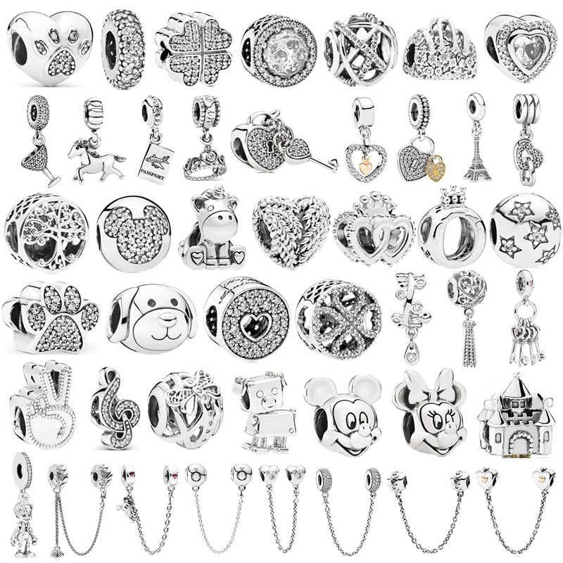 Prata 925 minnie mickey corrente de segurança coroa menino pingente caber pandora encantos pulseiras diy feminino prata original grânulo jóias