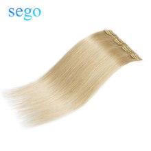 """SEGO 1""""-22"""" 40 г прямые человеческие волосы для наращивания на заколках, двойные нарисованные человеческие волосы на заколках для наращивания, 4 шт./с"""
