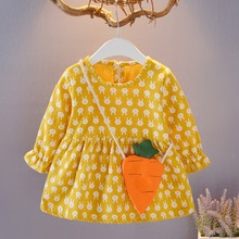 Baby Girl Dress 0-4T New Autumn Pageant Long Sleeve Rabbit Print Design Tutu Princess Lovely Toddler Outfits #m