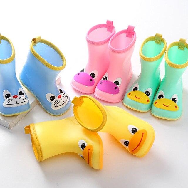 Temporada de lluvia de verano, Botas de lluvia de goma de PVC para niños, Botas de lluvia para chico con patrón de Animal con punta redonda, zapatos impermeables para niño y niña D03231