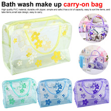 5 Colors Make Up Organizer Bag Toiletry Bathing Storage women waterproof Transparent Floral PVC Travel cosmetic bag