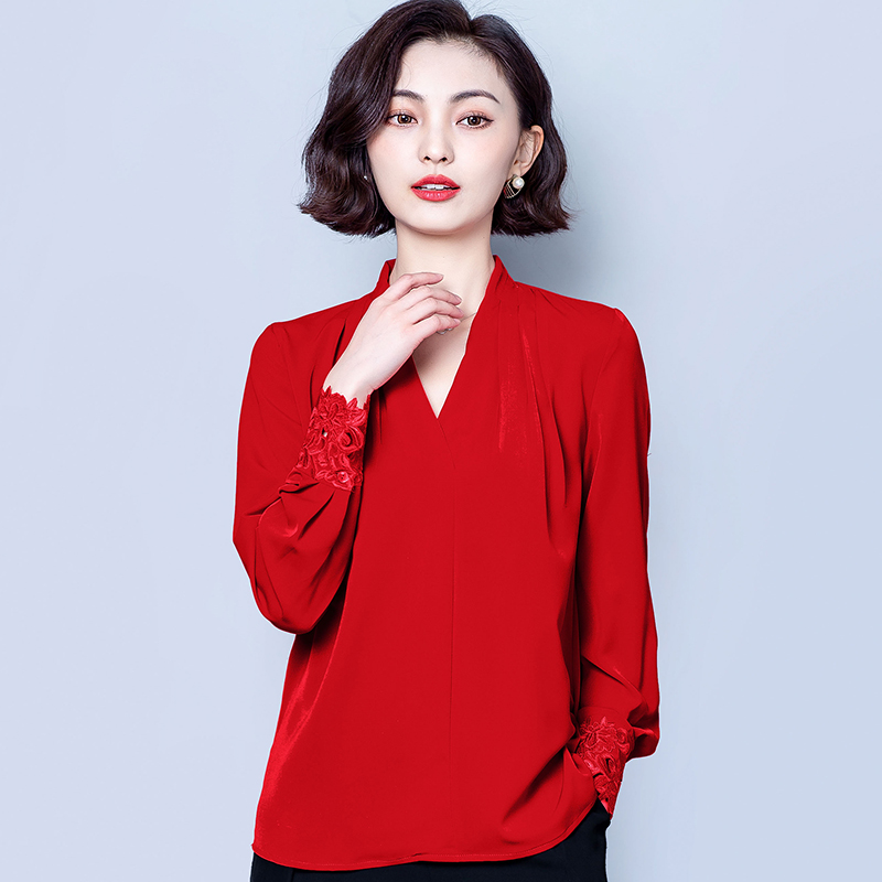 Satin V-Neck Embroidered Female Shirt Long Sleeve Plus Size Casual Loose Blouse Women Solid Elegant Tops Wine red Black Tunic