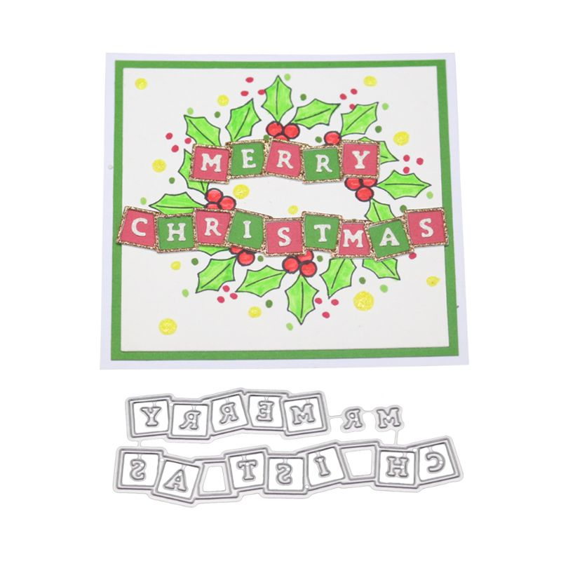 Merrry Christmas Cutting Dies Stencil Scrapbooking Embossing Paper Card Decor