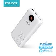 30000mah 26800mah romoss sw30 pro carregador de banco de potência portátil bateria externa pd carregamento rápido display led para telefones tablet