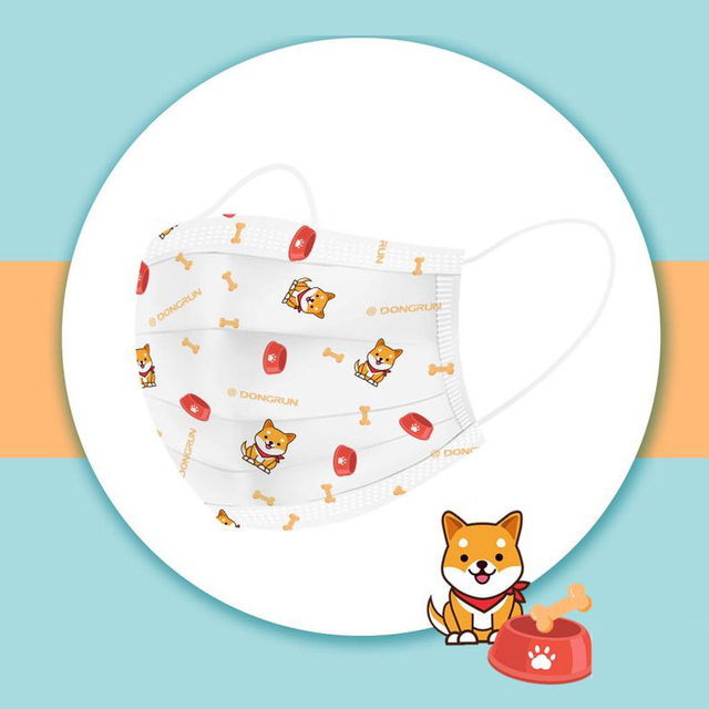 3-13 years old Disposable Elastic Mouth Soft Breathable Cartoon dog printing Hygiene Child Kids Face Mask Kawaii Dropshipping 4
