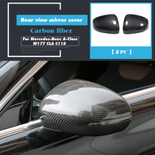 For Mercedes-Benz A-Class W177 CLA C118 2019 2020 Car Accessories Carbon Fiber Side Rearview Mirror Frame Cover Sticker Shell