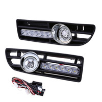 New 2Pcs Car Front Lower Bumper Fog Light Cover Grille with LED DRL for VW Bora Jetta MK4 1999 2007