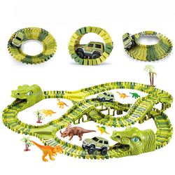 Dinosaur Railway Toy Car Track Racing Track Toy Simulation Track Set Educational Bend Flexible Race Track Flash Light Toy Cars
