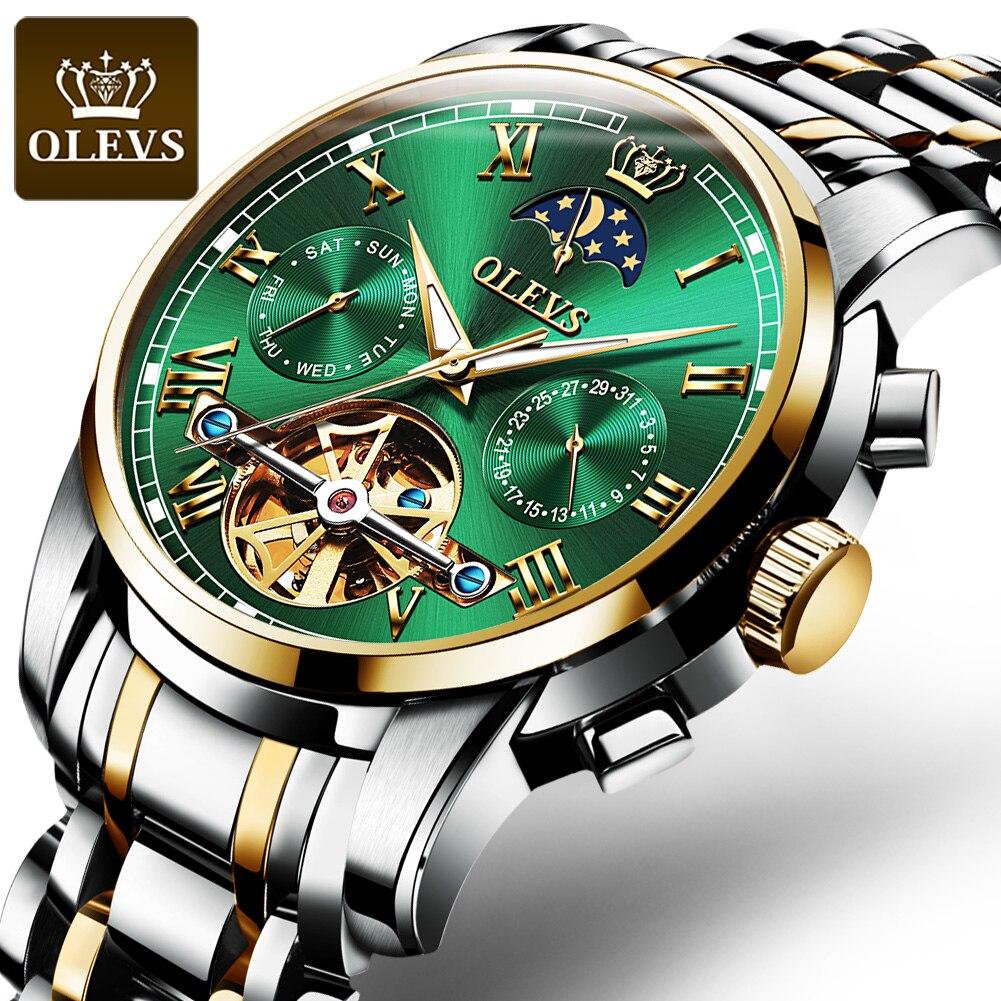 OLEVS Лидирующий бренд Для мужчин смотреть автоматические механические часы платье Роскошные луна светильник phaseTourbillon наручные часы Подарки ...