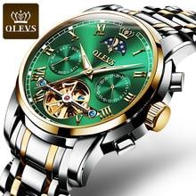 OLEVS Top Brand Men Watch Automatic mechanical watch Dress Luxury moon light phaseTourbillon Wristwatch Gifts for Male