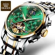 OLEVS Top marque hommes montre automatique mécanique montre robe de luxe lune lumière phaseTourbillon montre-bracelet cadeaux pour homme
