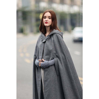 2019 Autumn Three color Hooded Strap length Cape Middle Ages Red Grey Green Black Long Hooded Cape Womens Ponchos