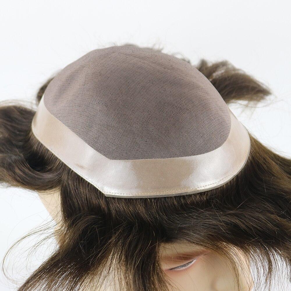 New Fine Mono Hair Replacement PU Skin Around Perimeter Toupee Men's Hairpiece Bond System Human Hair