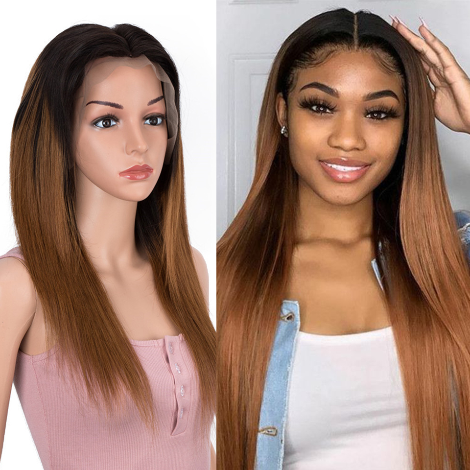Remy Forte Lace Front Human Hair Wigs 13x4 Lace Straight Human Hair 30 Inch Ombre Pre Plucked With Baby Hair 150% Density Wigs