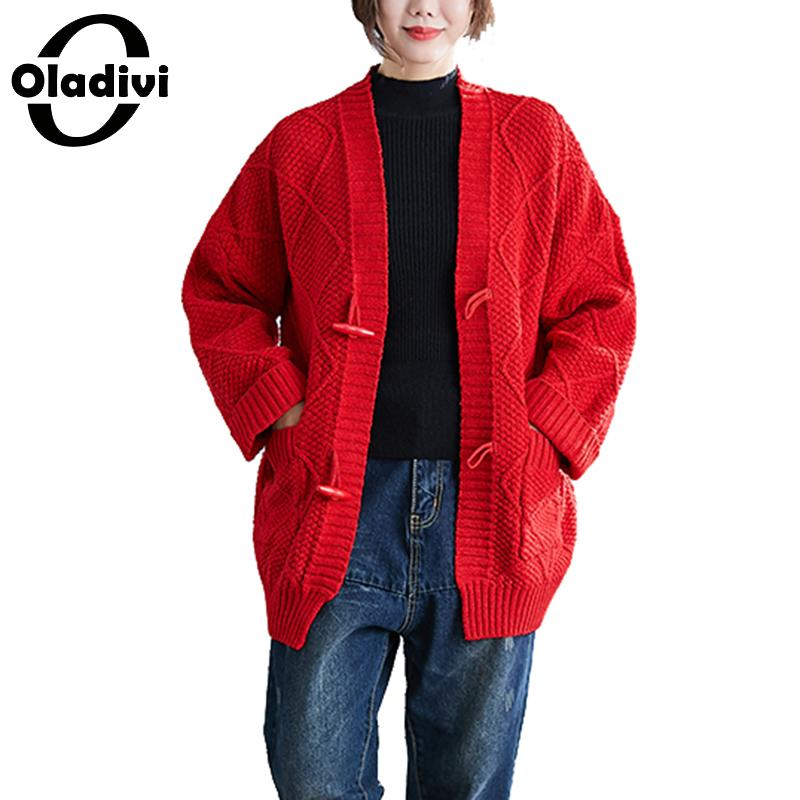 Oladivi Big Plus Size Women Long Sleeve Knitted Sweater Ladies Cardigans Autumn Winter New Casual Knitted Tops Female Knitwears