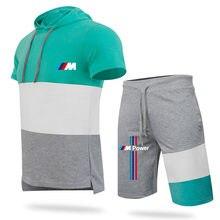 2021 fashion men's sets summer men sets Splicing shorts short-sleeved hooded casual sports trend suit men's suit t-shirt