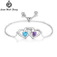Nome personalizado pulseira personalizado cor de prata duplo coração pulseiras charme ajustável jóias presentes das mulheres (lam hub fong)