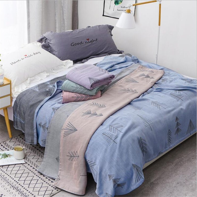 Bamboo Cotton Summer Quilt Adult Bedding Blanket Bedspread 150*200 Cm 2 Layers Muslin Sleeping Gauze Blanket For Afternoon Nap