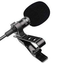 Mini microfone portátil lavalier, microfone condensador com clipe de lapela, com fio, para celular e laptop, 1.5m pc