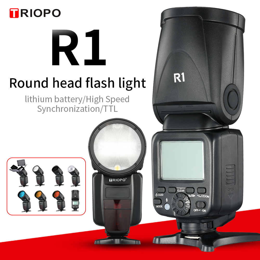TRIOPO R1 Round Head on camera  Flash 2.4G X Wireless TTL HSS 76Ws Speedlight Flash with Li Battery for Canon Nikon(only falsh)Flashes   -