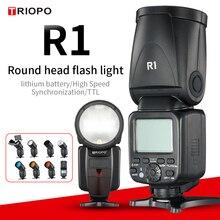 TRIOPO R1 okrągłe głowy i staje w sytuacji sam na sam lampa błyskowa 2.4G X bezprzewodowy TTL HSS 76Ws lampa błyskowa lampa błyskowa z litowo jonowy akumulator do aparatów Canon Nikon (tylko Flash)