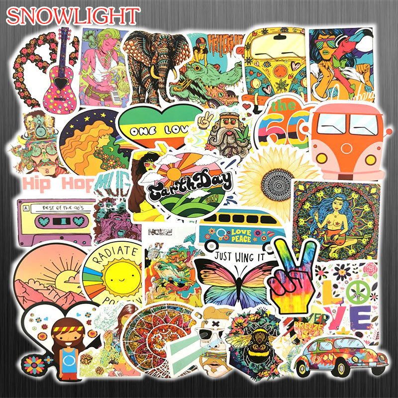 100pcs/set Funny Vintage Classic Hippie Peace Stickers For Chidren Toy Waterproof Sticker To DIY Laptop Bicycle Helmet Decals