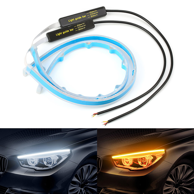 2pcs Dynamic DRL 30 45 60cm Universal Car led DRL Daytime Running Light Flowing Runs Headlight LED Strip Brake Turn Signal Light image