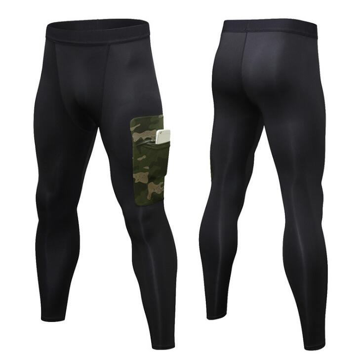 Men High Elastic Fitness Sport Leggings Tights Running Sportswear Sports Pants Quick Drying Hide phone pocket Training Trousers