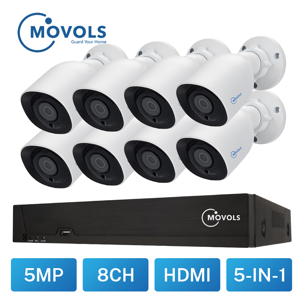 MOVOLS 8CH HD 5MP H.265 Security Camera System Outdoor Indoor 8 x 5MP 2560*1920 HD CCTV Camera video Surveillance kits