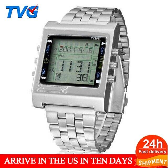 TVG جديد مستطيل التحكم عن بعد ساعة رياضية رقمية إنذار التلفزيون DVD عن بعد الرجال السيدات الفولاذ المقاوم للصدأ ساعة اليد الموضة عادية