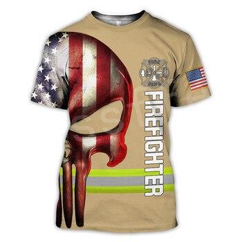 Tessffel Firefighters Suit Firemen Causal Streetwear Harajuku Unisex 3DPrint Funny Summer Short Sleeve T-shirts Men/Women A-2 2