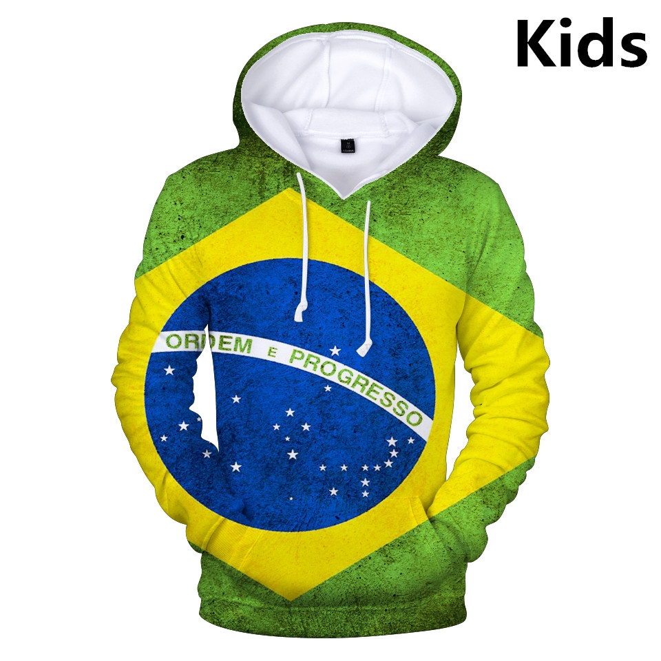3 To 13 Years 3D National Flag Brazil Canada USA Clothing Children Kids Boys Girls Hoodies Sweatshirt Outerwear Hoodie Jacket