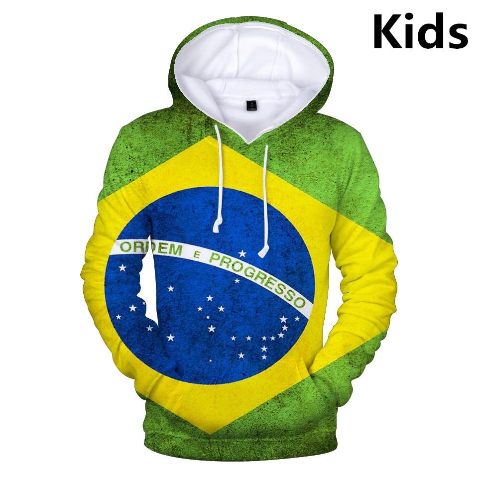 3 To 13 Years 3D National Flag Brazil Canada USA Clothing Children Kids Boys Girls Hoodies Sweatshirt Outerwear Hoodie Jacket