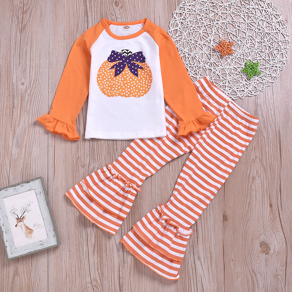 Infant Baby Girls Halloween Sets Toddler Girl Pumpkin Print Long Sleeve Tops Striped Bell-bottoms Pants Autumn Fashion Outfits