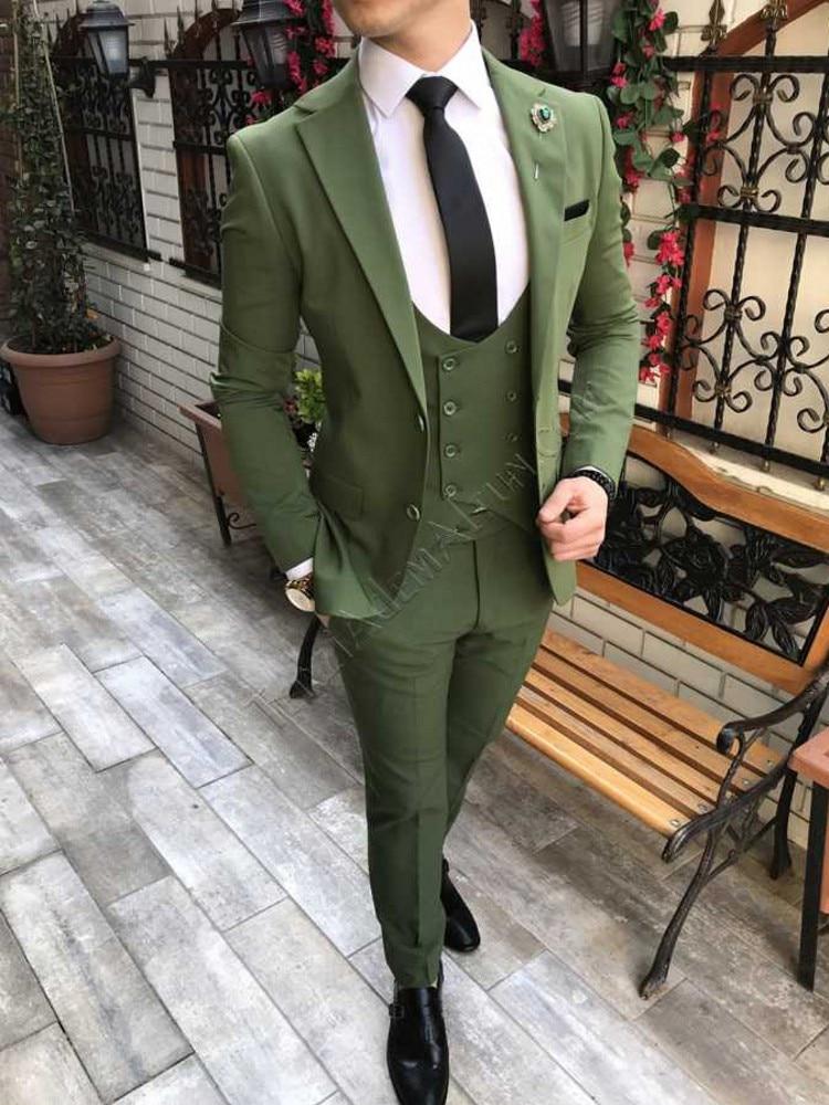 Custom Made Men Suits Olive Green Groom Tuxedos Notch Lapel Groomsmen Wedding Best Man 3 Pieces ( Jacket+Pants+Vest+Tie ) C903