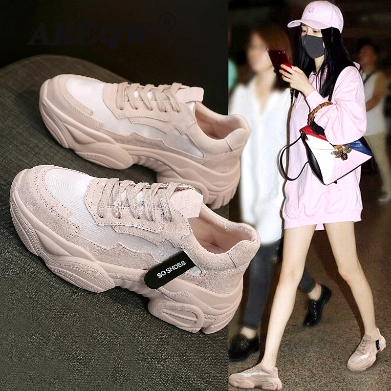 2020 Spring Women Platform White Sneakers Korean Fashion Pink Casual Chunky Shoes Tennis Female Yellow Lace Up Woman Trainers