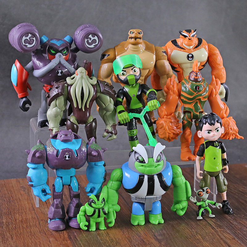11pcs/set Ben Grey Matter Heatblast Humongousaur Rath Vilgax Action Figures Kids Toys Gifts