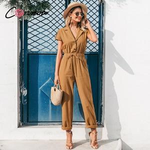 Conmoto soldi summer beach women jumpsuits romper casual button lace up wide leg jumpsuit long pocket playsuit rompers