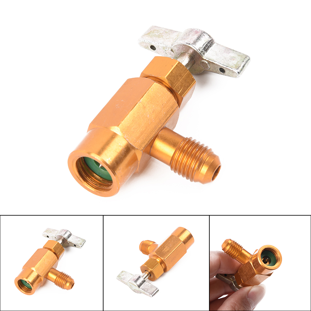Alloy <font><b>1/4</b></font> <font><b>SAE</b></font> Thread Adapter R-134a Refrigerant Can Bottle Tap Opener Valve Tool Auto Car Accessories Car Styling image