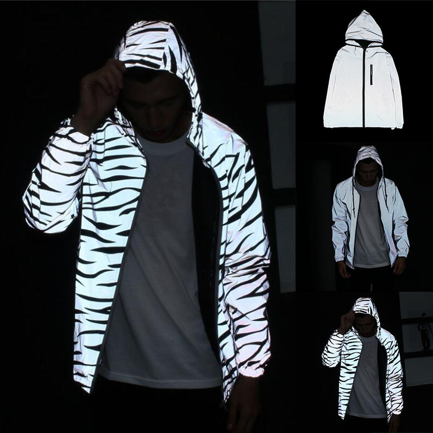 Women/Men Tracksuits Reflective Hooded Zipper Clothes Fashion 2019 NEW Loose Shine Fluorescence Jacket Coat Sweatshirt Plus Size