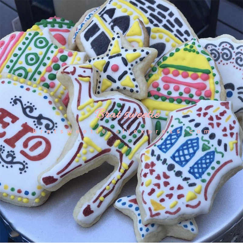 Ramadan Kareem Hadiah Cookie Cutter Stainless Steel Biskuit Cookie Cetakan Set Ramadan Lentera Eid Mubarak Dekorasi Paskah