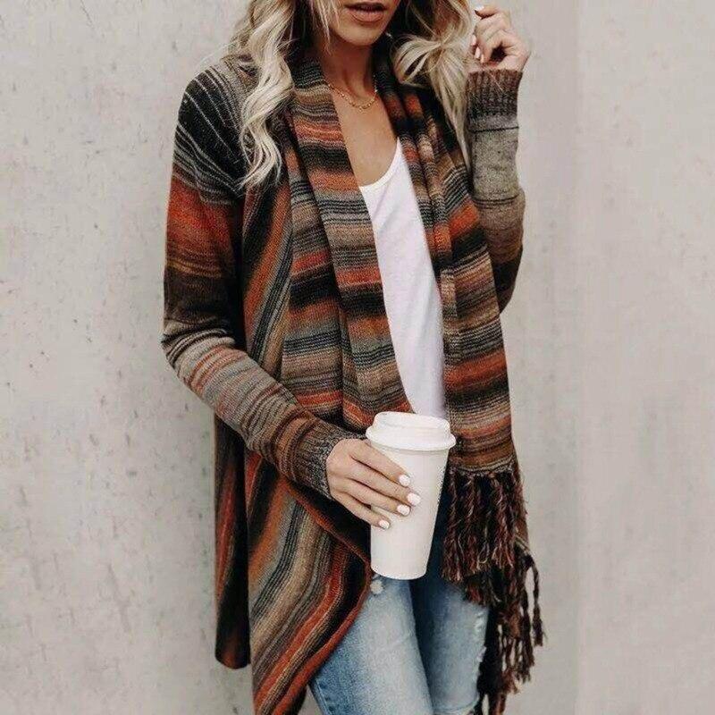 Sweaters Women Invierno 2019 Casual Turtleneck Striped Open Stitch Long Cardigan Women Winter Fall Woman Sweaters