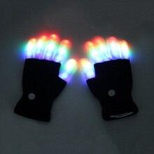 LED Halloween Colorful Flashing Gloves Full Finger Lighting Glow Mittens Bar Celebration Christmas Magic Black Luminous Gloves halloween colorful finger glow led gloves