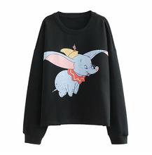 Black Animal Cartoon Print O Neck Sweatshirt Women Autumn 2019 Long Sleeve Oversized Hoodies Knitted Jumper