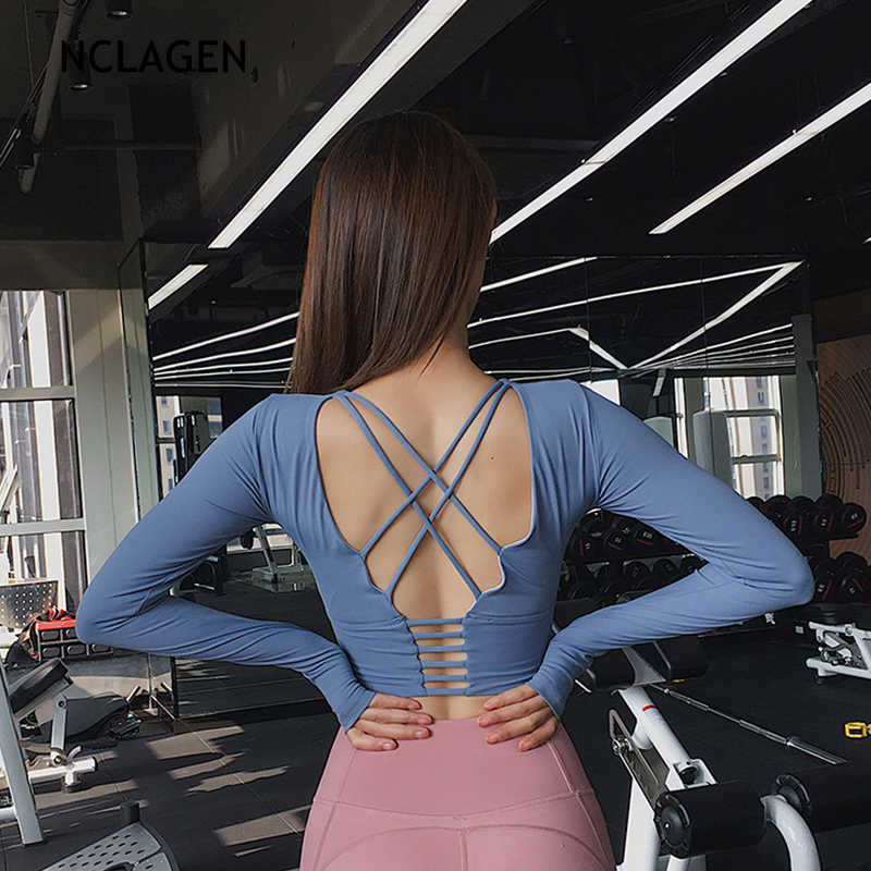 Nclagen Vrouwen Crop Yoga Top Gym Sport Running Oefening Workout Backless Zweet T-shirt Fitness Tshirt Rode Lange Mouw Tee Shirt