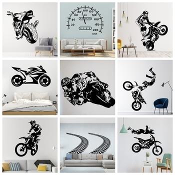 Calcomanías de pared creativas de carretera y motocicleta para los amantes de los ciclos sala de estar habitación de los niños hogar adhesivo de decoración, calcamonía Mural