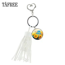 TAFREE JW.ORG Car tassels Key Ring natural plant flowers Jehovah's Witnesses white Plastic jewlery lovers best summer gift JW23(China)